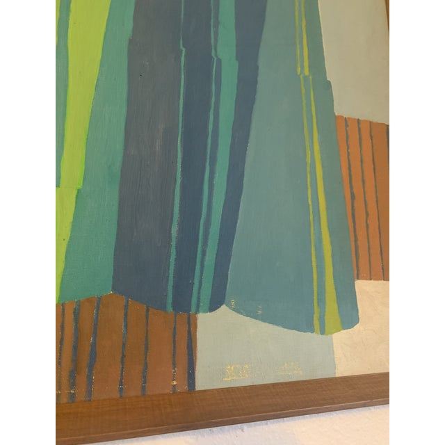 Mid-Century Modern Abstract Line Acrylic Painting, Framed For Sale - Image 4 of 8