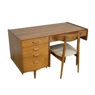 Conant Ball Russel Wright Mid Century Modern Maple Desk With Chair For Sale