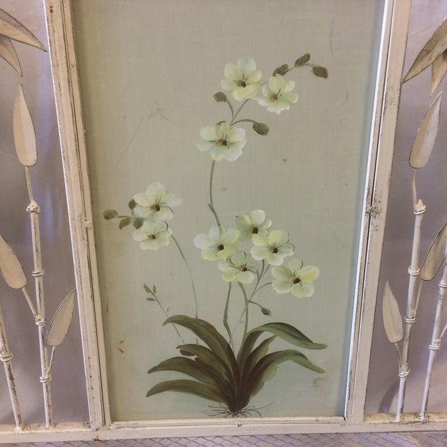 Vintage Shabby Chic Metal Hand Painted Fireplace Screen - Image 7 of 10