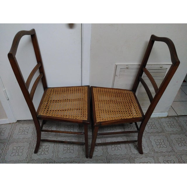 Cane Seat Wood Chairs A Pair