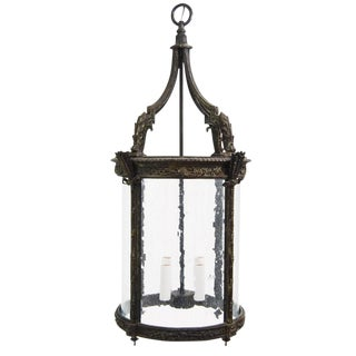 Heavy 19th Century French Style Bronze Cast Achantus Leaf Hanging Lantern For Sale