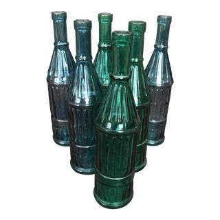 La Meditteranea Recycled Glass Bottles - Set of 6 For Sale
