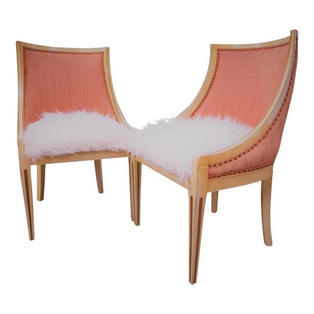 Faux Fur Deco Boudoir Chairs - A Pair - Image 1 of 10