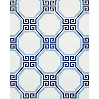 Sample - Schumacher Octavia Paperweave Wallpaper in Marine For Sale