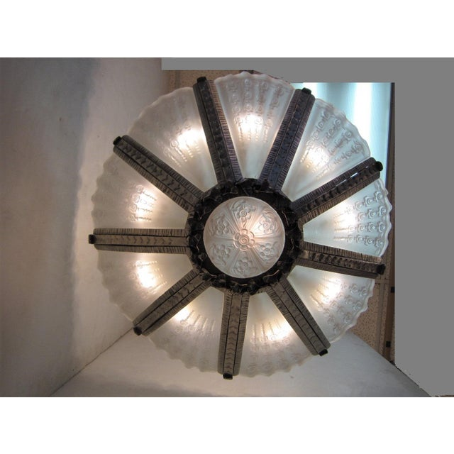 Massive Verrerie Belge Art Deco Frosted Glass Chandelier, Stamped F. Carion For Sale In New York - Image 6 of 13