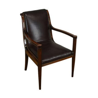 French Art Deco Mahogany Brown Leather Arm Chair - Haentges Freres Paris For Sale