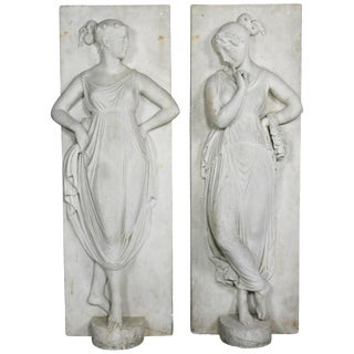 Pair of Italian White Marble Bas Reliefs of Muses For Sale