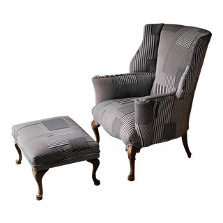 Patchwork Wingback Chair and Ottoman For Sale