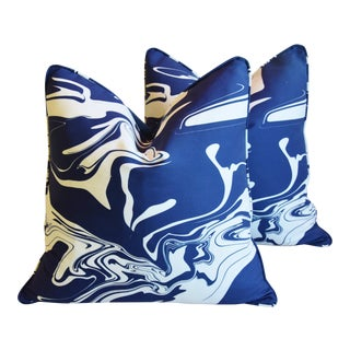 "Blue & White Marbleized Stone & Velvet Feather/Down Pillows 22"" Square - Pair For Sale"