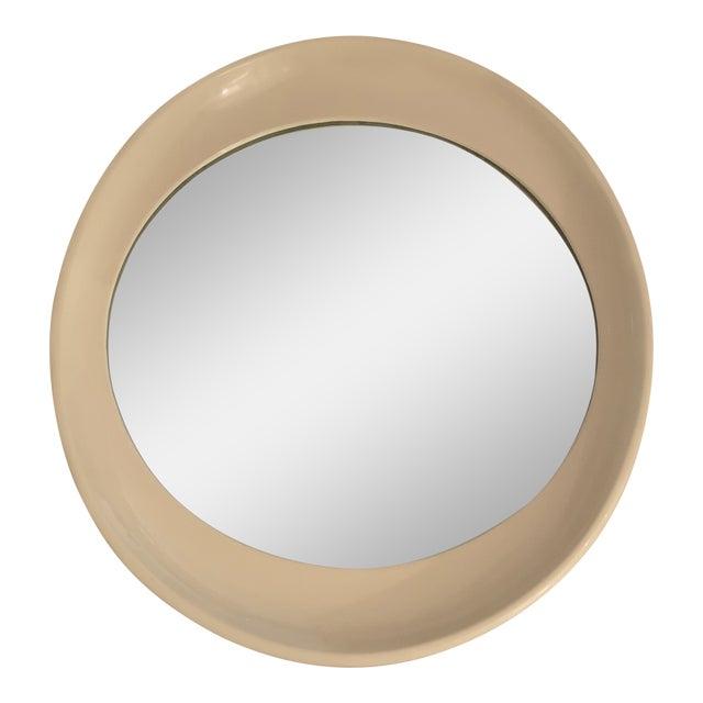 Beige Framed Oval Antique Mirror For Sale