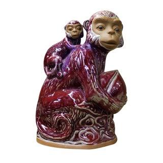 Purple Glaze Ceramic Monkeys