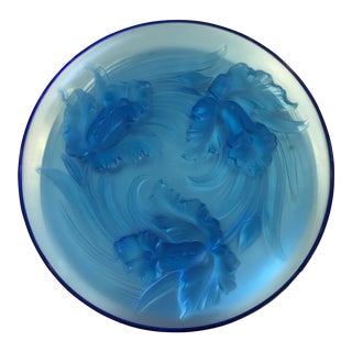 Nouveau Style Verlys Blue French Art Glass Iris Charger