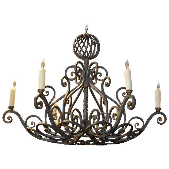 French Patinated Iron Chandelier For Sale