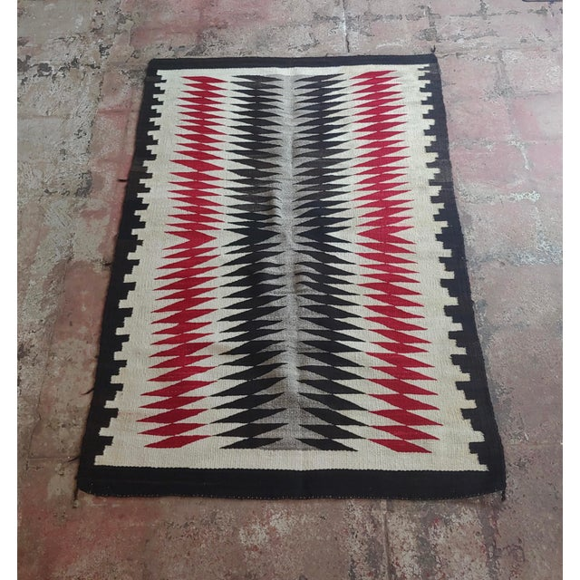 Native American Vintage Navajo Rug W/Red Brown & Beige Design For Sale - Image 9 of 9