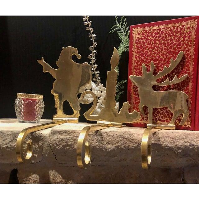 Vintage Brass Stocking Hooks Santa, Reindeer and Candle Hangers - Set of 3 For Sale - Image 11 of 12