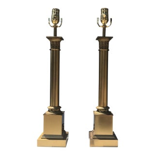 Gilt Bronze Neoclassical Column Lamps by Maison Charles, Paris - a Pair For Sale