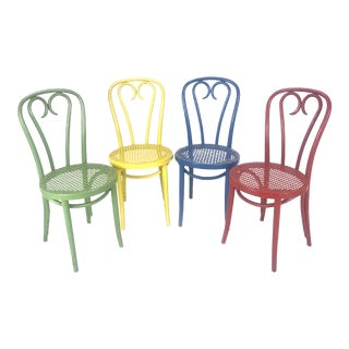 Vintage Wood Candy Cane Radomsko Cafe Chairs - Set of 4 For Sale