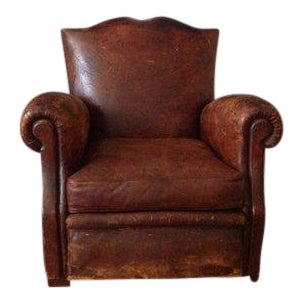 Antique French Leather Club Chair, Distressed Mustache Back Club Chair For Sale