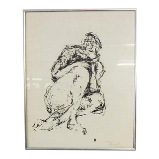 1970s Figurative Nude Oil Painting, Framed For Sale