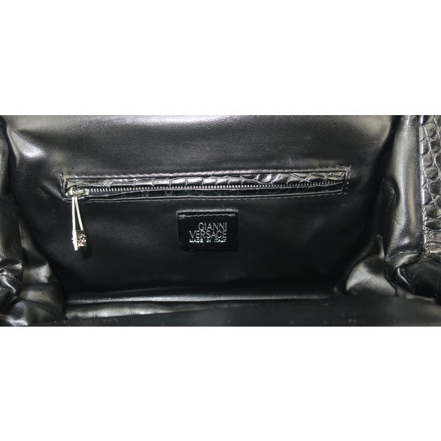 Vintage Versace Black Croc Embossed Leather Handbag With Unique Handles For Sale - Image 9 of 13