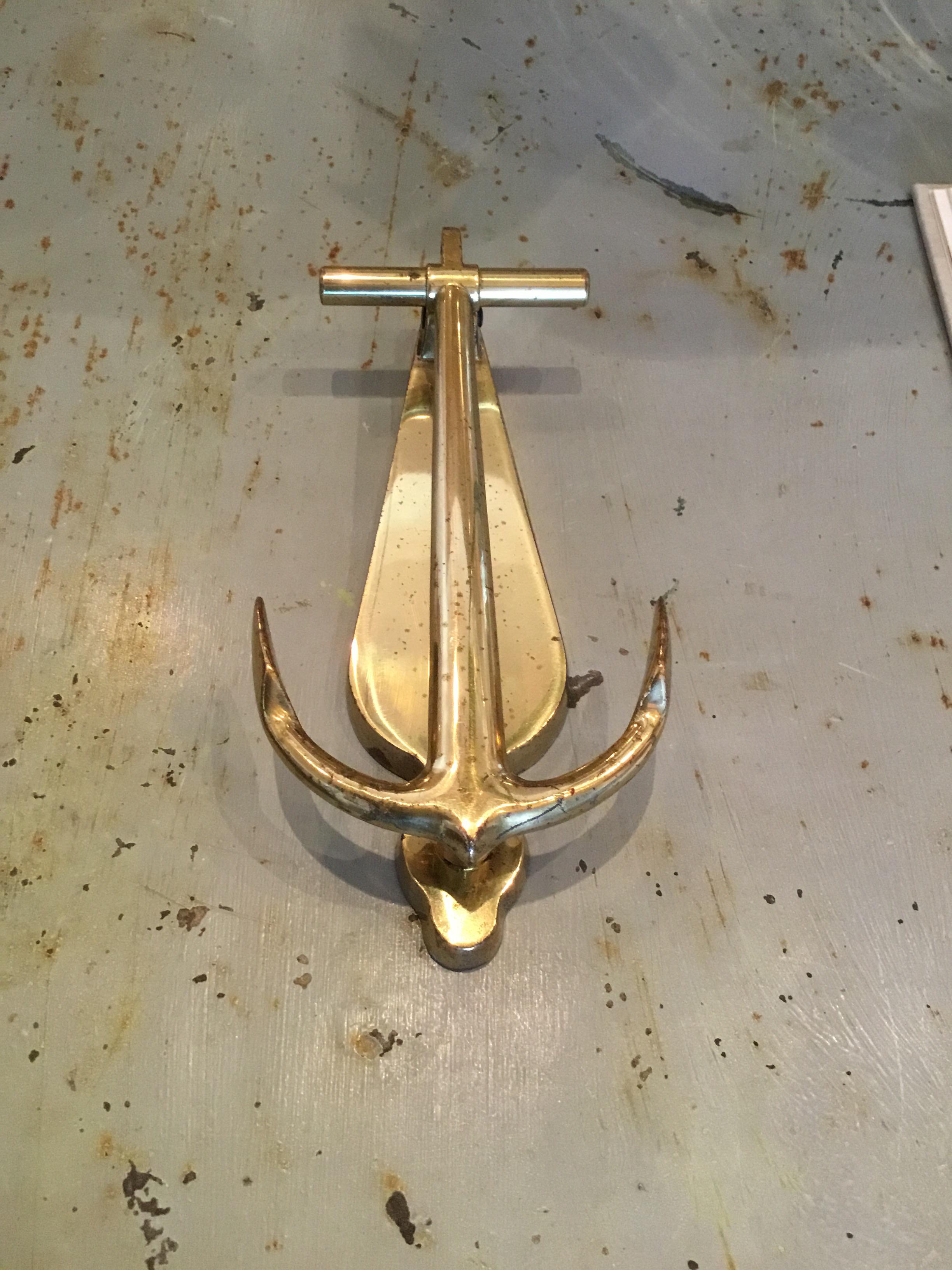 Gold Vintage Brass Anchor Door Knocker For Sale   Image 8 Of 8