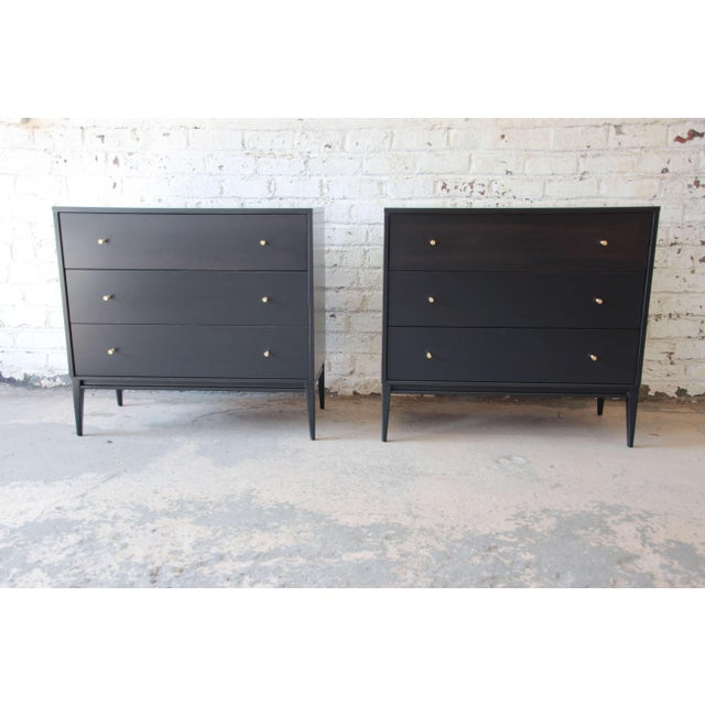 Paul McCobb Planner Group Ebonized Three Drawer Bachelor Chests or Large Nightstands, Pair For Sale - Image 11 of 11