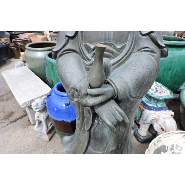 Late 19th Century Immaculate Bronze Statue of Quan Yin, the Goddess of Mercy and Compassion For Sale - Image 5 of 9