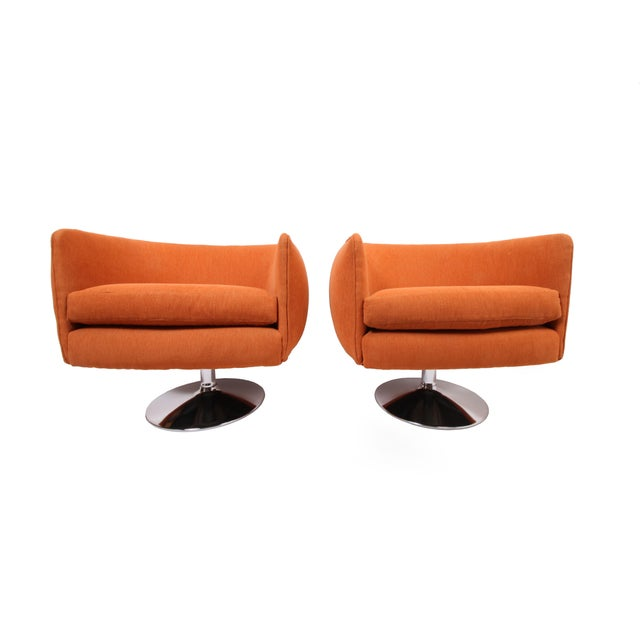 Vintage Swiveling Lounge Chair Pair - Milo Baughman, Adrian Pearsall Style - Original Vintage Design With Newer Fabric - Earthy Orange For Sale - Image 11 of 11