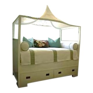 Custom White Twin Cane-Detailed Canopy Daybed With Drawers For Sale