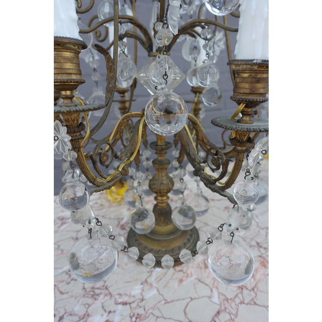 French Crystal & Bronze Lights - Pair - Image 4 of 9