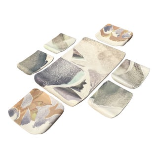 Abstract Painted Ceramic Tray and Mini Plates - Seven Piece Set For Sale