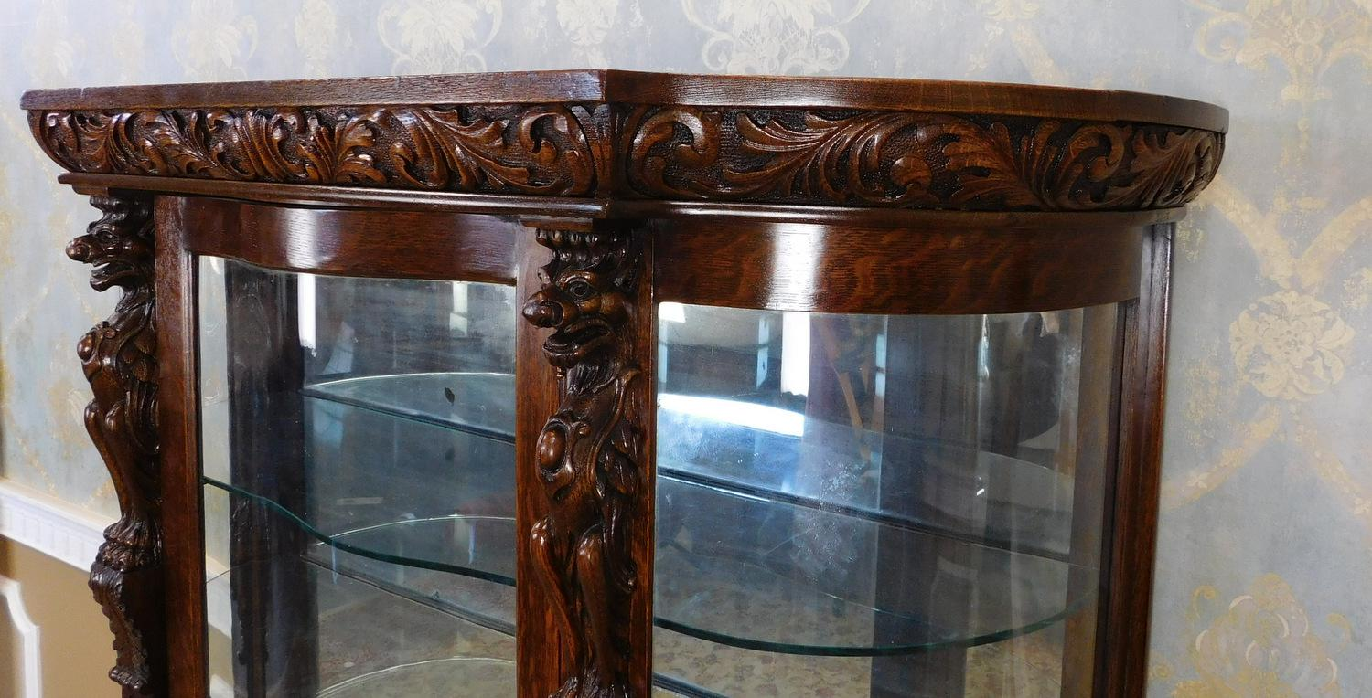 Traditional Antique Victorian Carved Figural Quartered Oak Curved Glass  Curio Cabinet C1900 For Sale   Image
