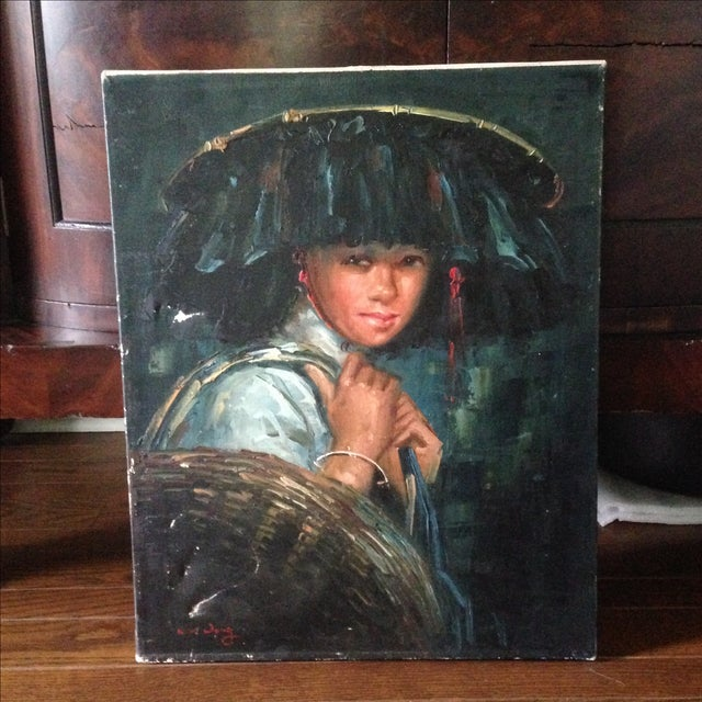 Vintage Portrait of Young Woman, Oil on Canvas - Image 2 of 11