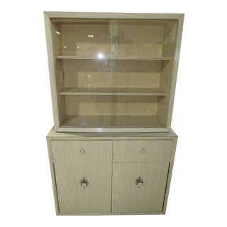1950s Mid Century Modern Beech 2 Piece China Cabinet Hutch For Sale