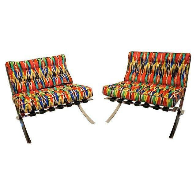 Mid-Century Modern Barcelona Style Chairs - Pair - Image 3 of 7