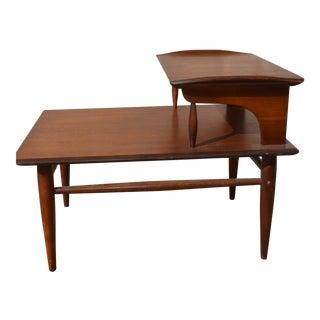 Mid- Century Modern 2 Tier Walnut Side Table For Sale
