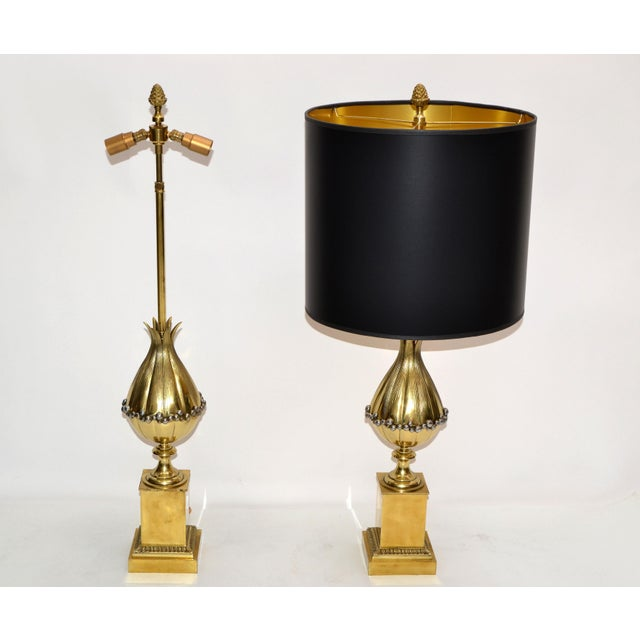 Maison Charles French Art Deco Lotus Bronze Table Lamp Black & Gold Shade - Pair For Sale - Image 9 of 13