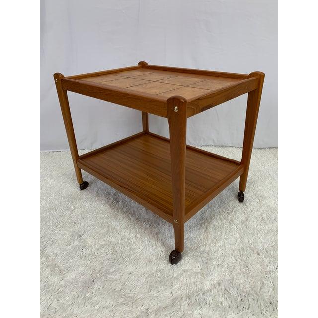 Wood Danish Modern Teak Serving Cart by Brdr Furbo For Sale - Image 7 of 13