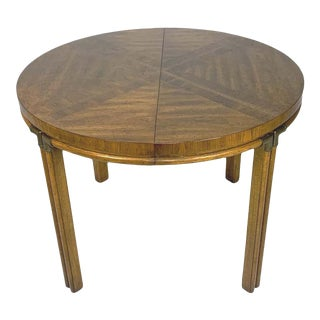 Campaignw. Inlaid Burl & Pecan Round to Oval Dining Table With 2 Extension Leaves For Sale