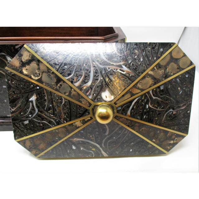 Maitland-Smith Inlaid Stone With Brass Accents Boxe For Sale - Image 9 of 11