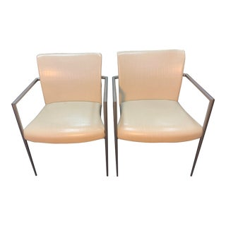 Hickory Business Furniture Faux Croc Arm Chairs - a Pair For Sale