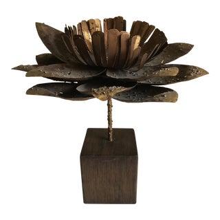 Brutalist Style Sculpted Metal Flower Candleholder For Sale