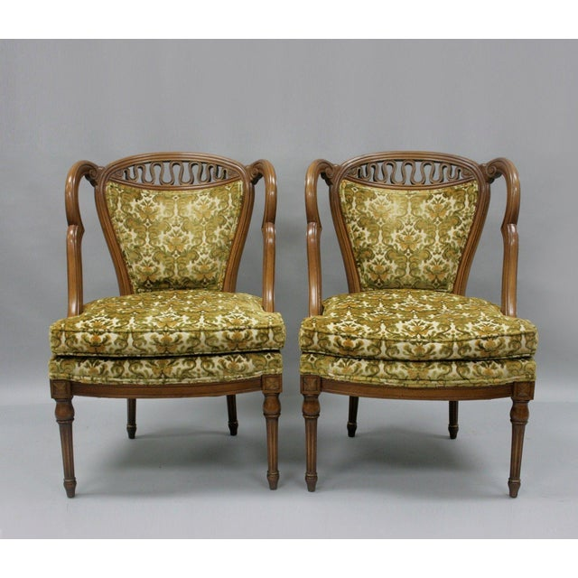 Pair of Vintage Hollywood Regency French Style Squiggle Loop Back Living Room Chairs For Sale - Image 11 of 11