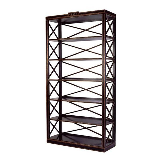 Empire Charles Pollock Directoire Style Black & Gold Etagere Shelving Unit For Sale - Image 3 of 3