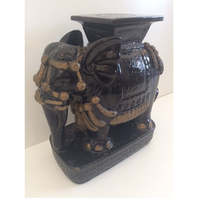 Boho Chic Vintage Black Ceramic Garden Stool For Sale - Image 3 of 8