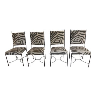 Italian Iron & Bronze Chairs With Stretcher Base - Set of 4