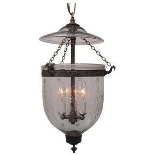 Handblown Bell Jar Lantern with Brass Finial For Sale