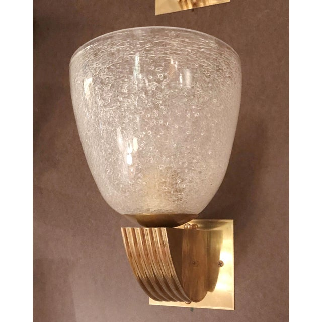 One of a kind Italian Art Deco style wall light with vintage clear textured Murano glass, circa 1960s, mounted on newly...