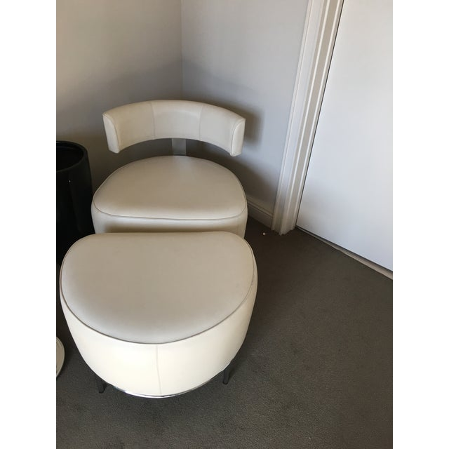 Contemporary Fendi Casa White Leather Chair & Ottoman - a Pair For Sale - Image 3 of 4