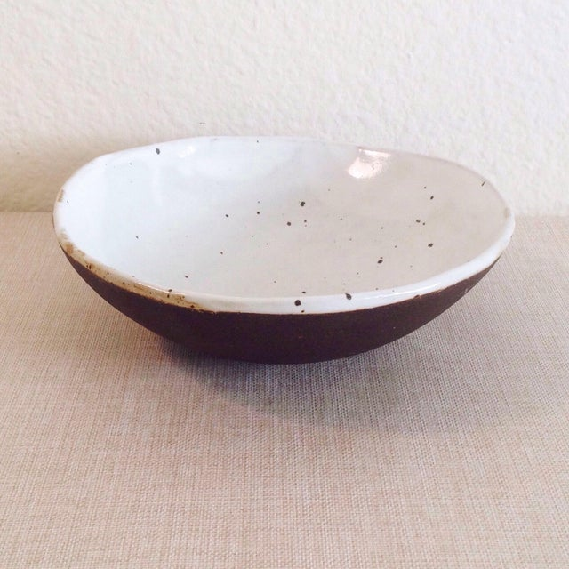 2010s Boho Chic Speckled Stoneware Soup Bowl For Sale - Image 5 of 9